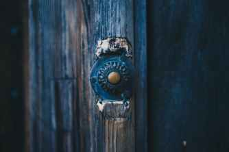 door wooden bell old