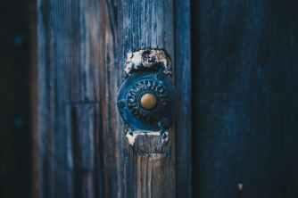 door wooden bell old